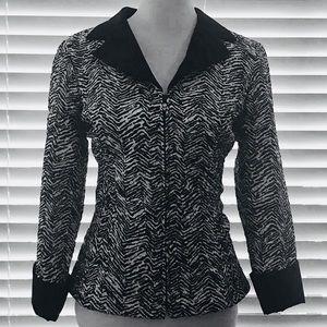 Victor Costa Zebra Print Zip Front Jacket Top